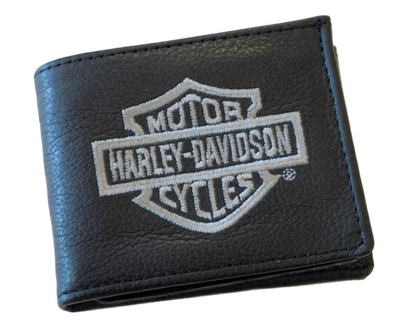 Harley-Davidson Men's Embroidered Gray B&S Billfold Wallet Black FB808H-2G - Wisconsin Harley-Davidson