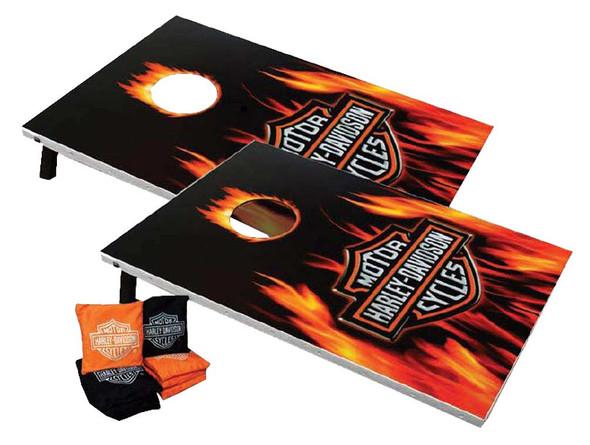 Harley-Davidson Flaming Bar & Shield Cornhole Bean Bag Toss Game 66279 - Wisconsin Harley-Davidson