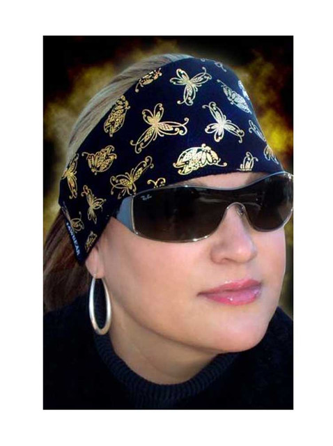 That's A Wrap Women's Biker Butterfly Gold Foil Do Band, Made in the USA! DB1292 - Wisconsin Harley-Davidson