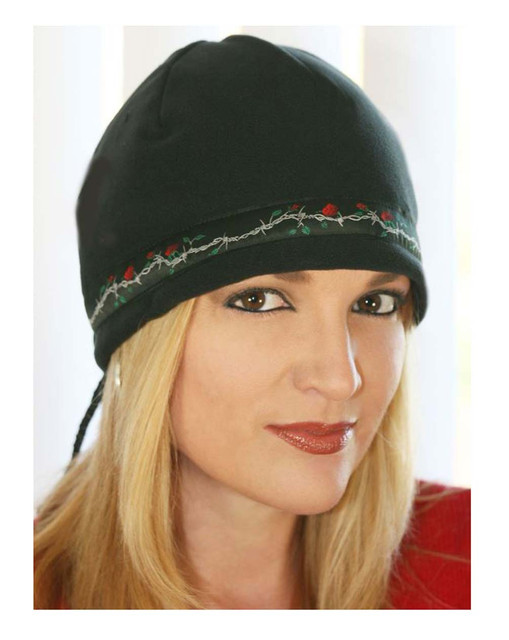 That's A Wrap Women's Cord Lock Barbwire & Roses Beanie Cap, Black CLB-100 - Wisconsin Harley-Davidson
