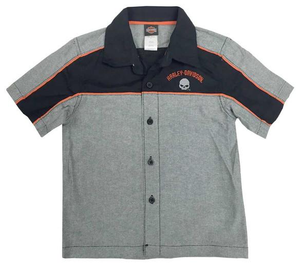 Harley-Davidson Big Boys' Embroidered Woven Button Shop Shirt, Gray 1091728 - Wisconsin Harley-Davidson