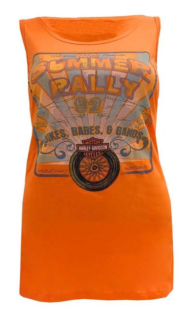Harley-Davidson Women's Tank Top, Retro Summer Rally Racer Back, Orange - Wisconsin Harley-Davidson