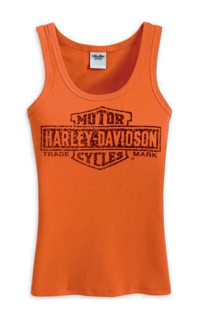 Harley-Davidson Women's Bar & Shield Trademark Logo Tank, Orange 99101-12VW - Wisconsin Harley-Davidson