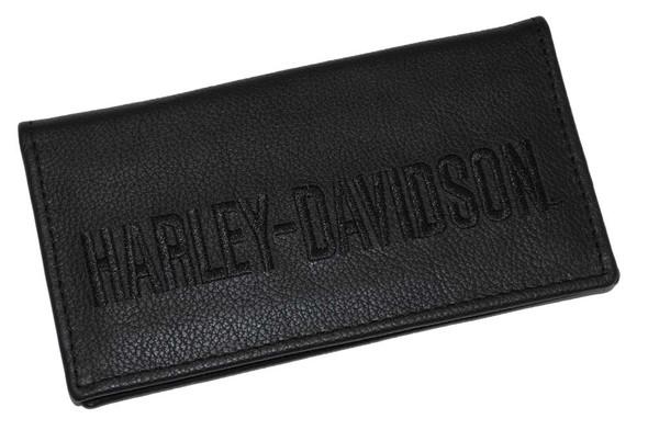 Harley-Davidson Men's Embroidered Checkbook Cover Black Leather FC806H-7B - Wisconsin Harley-Davidson