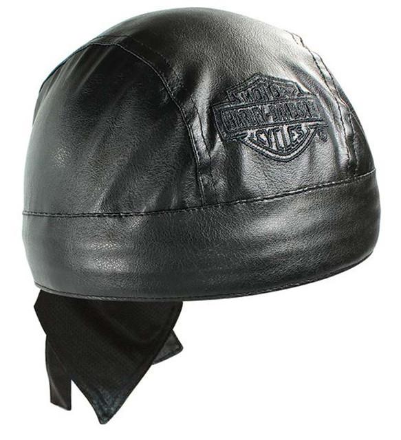 Harley-Davidson Bar & Shield Black Faux Leather Head Wrap HW30230 - Wisconsin Harley-Davidson
