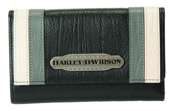 Harley-Davidson Women's Colorblocked Tri-Fold Leather 6 in Wallet CB6391L-GRYBLK - Wisconsin Harley-Davidson