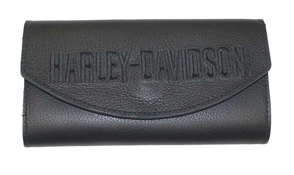 Harley-Davidson Women's Embroidered H-D Organizer Wallet Black Leather LO810H-7B - Wisconsin Harley-Davidson