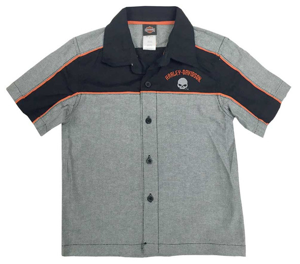 Harley-Davidson Little Boys' Embroidered Woven Button Shop Shirt Black 1081728 - Wisconsin Harley-Davidson