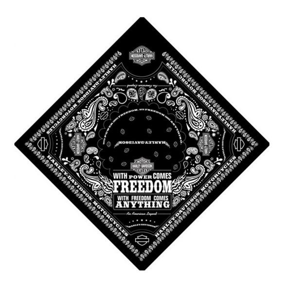 Harley-Davidson Men's Bandana, Power & Freedom Paisley Style, Black BA126030 - Wisconsin Harley-Davidson