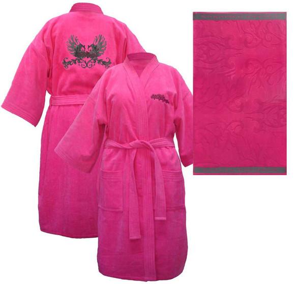 Harley-Davidson Womens Pink Winged Kimono Robe Bathrobe w/ Bath Towel 6054 - Wisconsin Harley-Davidson