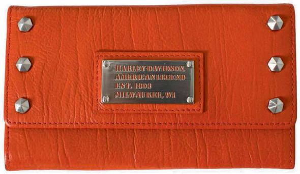 Harley Davidson Womens All Bark Orange Trifold Clutch Wallet AB7790L-ORG - Wisconsin Harley-Davidson