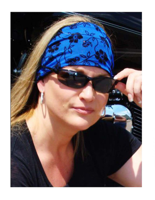 That's A Wrap Women's Flocked Floral Lace Knotty Band, Royal Blue & Black KB1623 - Wisconsin Harley-Davidson