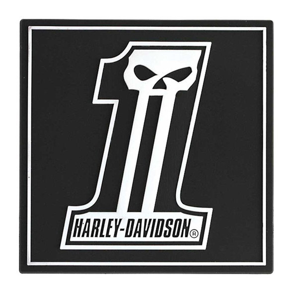 Harley-Davidson Magnet, Long Tooth #1 Skull Logo Rubber Tile Magnet 8003180 - Wisconsin Harley-Davidson