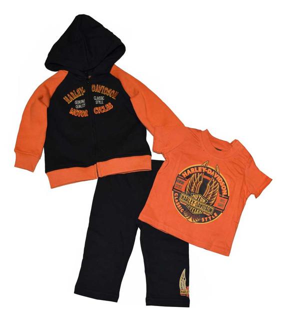 Harley-Davidson Baby Boys' 3-Piece Pant Set, Newborn Bar & Shield Winged 3352362 - Wisconsin Harley-Davidson
