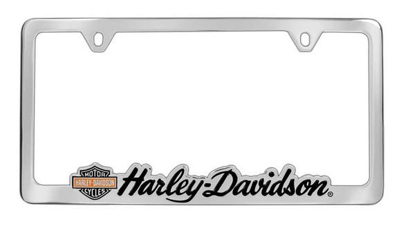 Harley-Davidson License Plate Frame, Bar & Shield H-D Script, Chrome HDLFC61 - Wisconsin Harley-Davidson