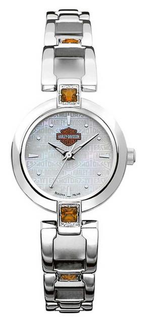 Harley-Davidson Women's Bulova Citrine Accented Wrist Watch 76L148 - Wisconsin Harley-Davidson