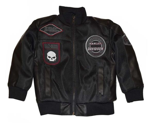 Harley-Davidson Little Boys' Bomber Jacket, Patches Nylon Black Jacket 4376082 - Wisconsin Harley-Davidson