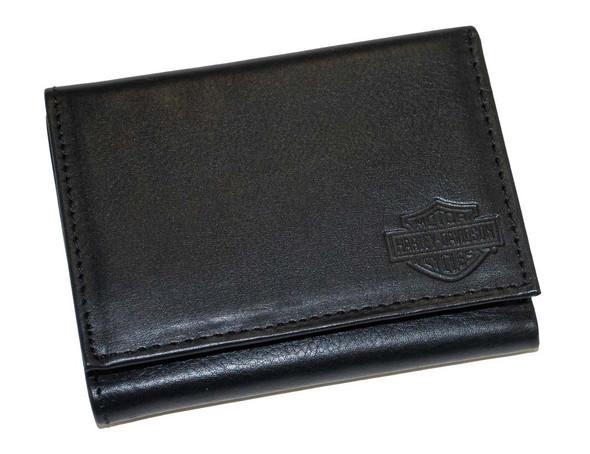 Harley-Davidson Men's Tri-Fold Black Leather Bar & Shield Dress Wallet HD950 - Wisconsin Harley-Davidson