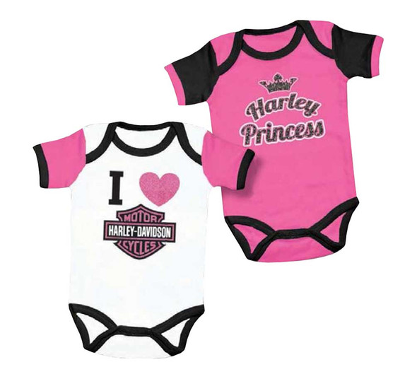 Harley-Davidson Baby Girls' Princess Creeper Set, 2 Pack Pink/White 3000557 - Wisconsin Harley-Davidson