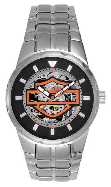 Harley-Davidson Men's Bar & Shield Automatic Watch, Stainless Steel 76A17 - Wisconsin Harley-Davidson