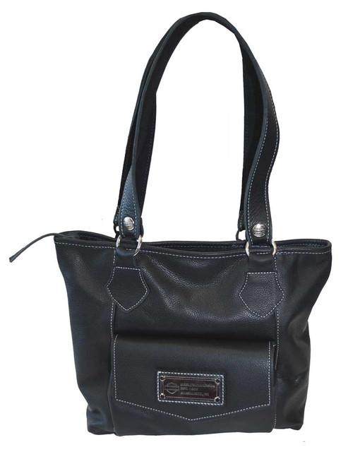 Harley-Davidson Women's Tote Bag With Front Pocket Black Leather Purse HD659 - Wisconsin Harley-Davidson