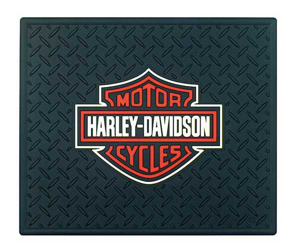 Harley-Davidson 14 x 17 Orange & White Bar & Shield Utility Mat P1002 - Wisconsin Harley-Davidson