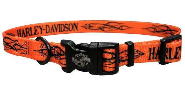 Harley-Davidson H-D Tribal Pet Collar 3/8'' Orange Adjusts 8-12'' H6321-H-ORN12 - Wisconsin Harley-Davidson