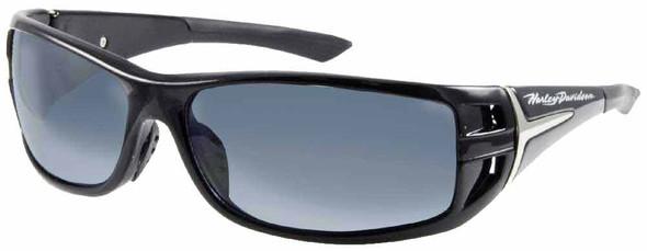 Harley-Davidson Mens Kickstart Sunglasses Shiny Black Dark Grey Lens HDV007BLK-3 - Wisconsin Harley-Davidson