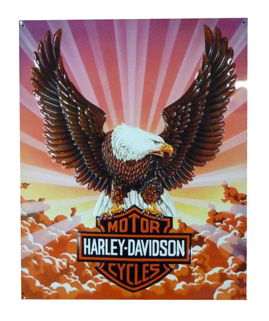 Harley-Davidson Tin Sign, Bar & Shield Eagle with Clouds, 14 x 17 inch 2010041 - Wisconsin Harley-Davidson