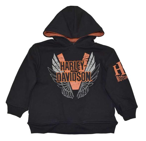 Harley-Davidson Big Boys' H-D Pullover Fleece Hooded Sweatshirt, Black 4291382 - Wisconsin Harley-Davidson