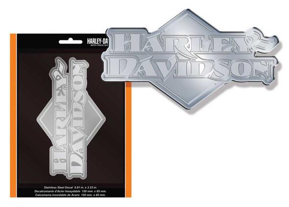 Harley-Davidson H-D Badge Stainless Steel Decal, 5.75 x 3.2 Inch CG1208 - Wisconsin Harley-Davidson