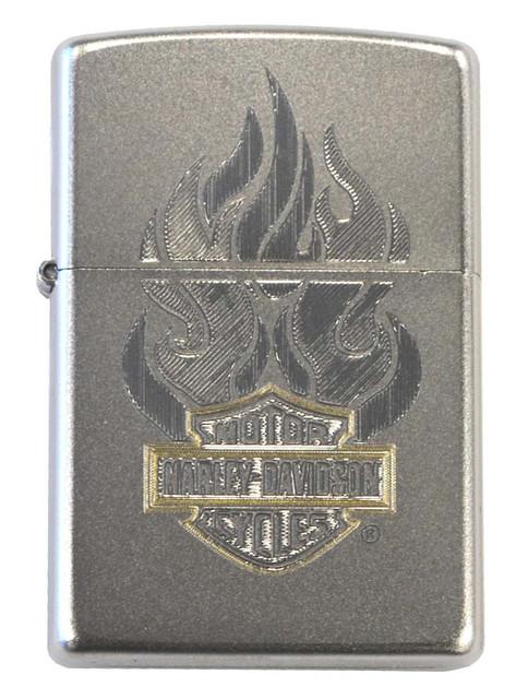 Harley-Davidson Classic Zippo Lighter, Satin Chrome Flame Bar & Shield 28127 - Wisconsin Harley-Davidson