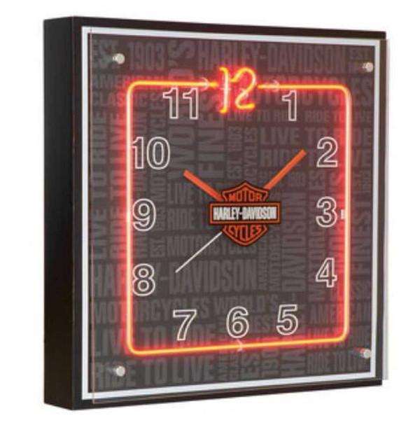 Harley-Davidson Repeat Bar & Shield Orange Neon Clock HDL-16629 - Wisconsin Harley-Davidson
