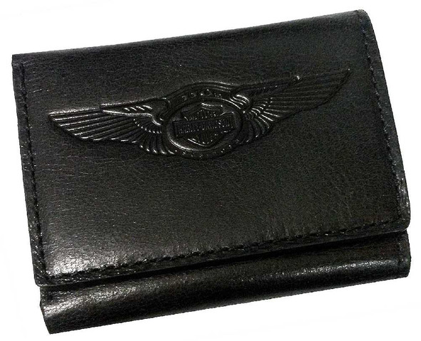 Harley-Davidson 110th Anniversary Tri-Fold Wallet Black Leather AM1159L-Black - Wisconsin Harley-Davidson