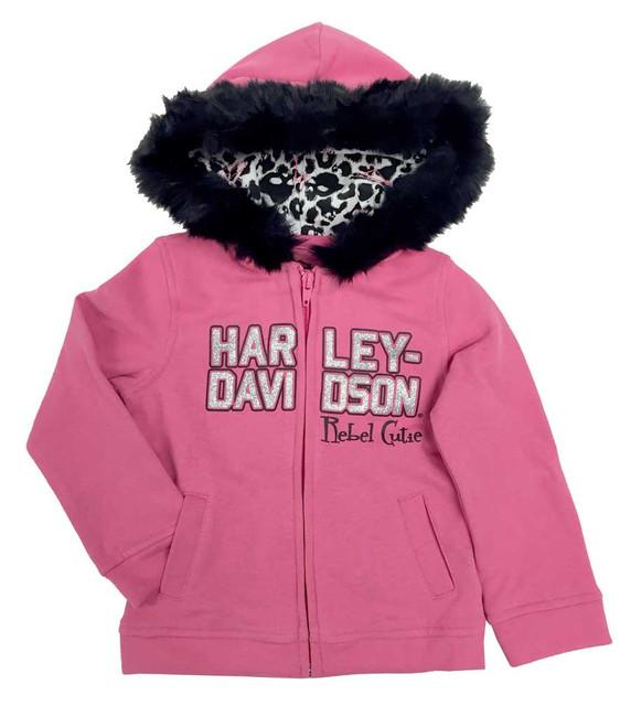 Harley-Davidson Baby Girls' Glittery Fleece Hooded Sweatshirt, Pink 6511708 - Wisconsin Harley-Davidson
