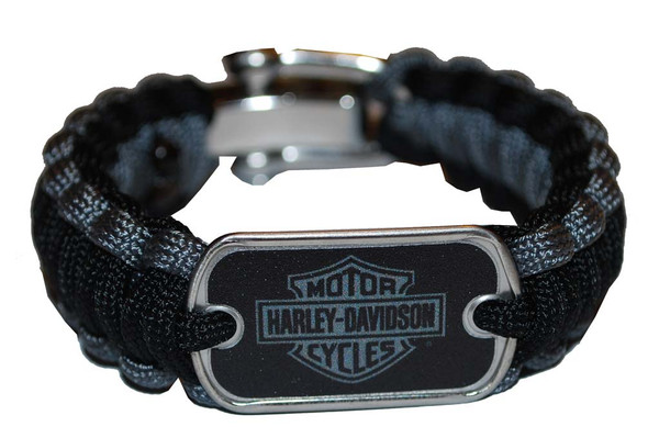 Harley-Davidson Regular Survival Bracelet Steel Black/Grey Size 8'' 201106782 - Wisconsin Harley-Davidson