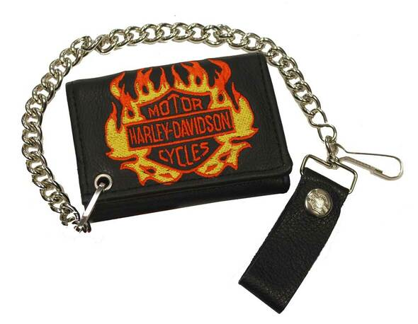 Harley-Davidson Men's Flaming Bar & Shield Tri-Fold Biker Chain Wallet TC813H-20 - Wisconsin Harley-Davidson