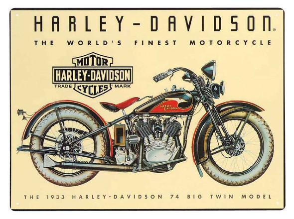 Harley-Davidson 74 Big Twin Tin Metal Sign 12.5 x 17 Inch  2010011 - Wisconsin Harley-Davidson