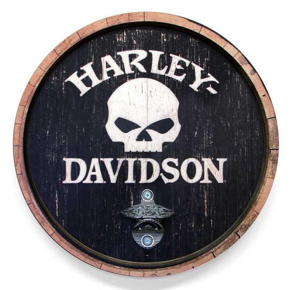 Harley-Davidson 15 In Round Skull Bottle Opener Wooden Sign CU118B-BO-SCGPX4-H - Wisconsin Harley-Davidson