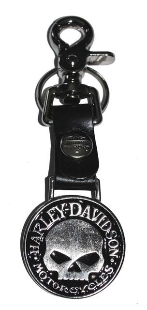 Harley-Davidson Bottle Opener Skull Medallion Leather Strap Key Fob w/ Hook K75H - Wisconsin Harley-Davidson