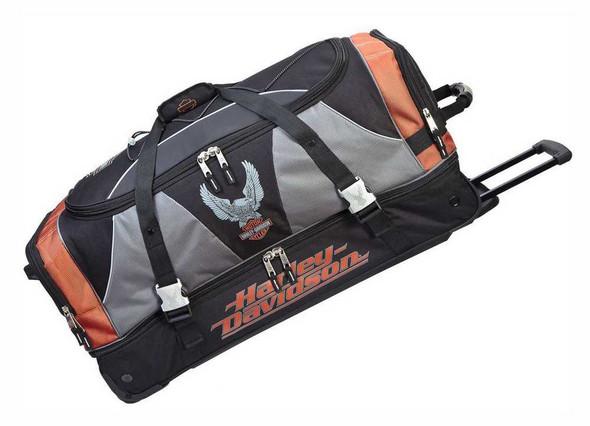 Harley-Davidson 32 Inch XL Super Organized Duffel, Wheeled Bag 99632-RUST/BLK - Wisconsin Harley-Davidson