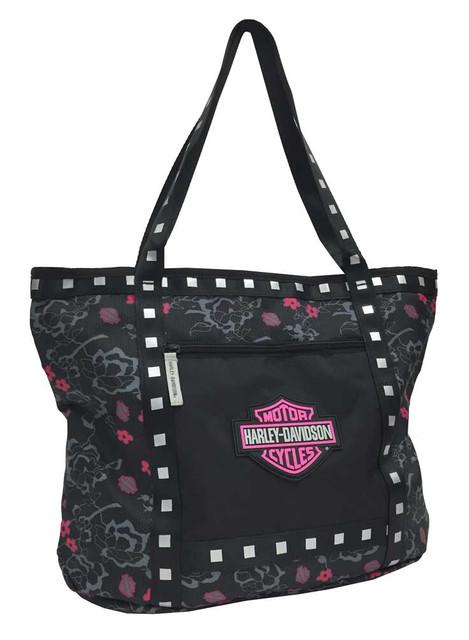 Harley-Davidson Bar & Shield Flowered Tote Bag, Black 7130519 - Wisconsin Harley-Davidson
