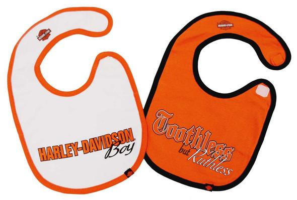 Harley-Davidson Baby Boys' Cotton Bib Set, Orange & White 2-Pack S9LBL58HD - Wisconsin Harley-Davidson