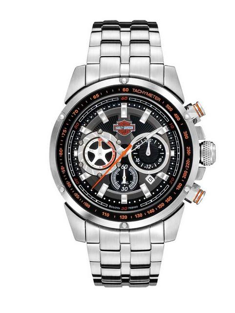 Harley-Davidson Men's Bulova Chronograph Bar & Shield Wrist Watch 76B160 - Wisconsin Harley-Davidson