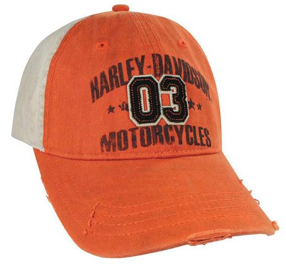 Harley-Davidson Greaser Distressed Look Orange Baseball Cap BCE72638 - Wisconsin Harley-Davidson