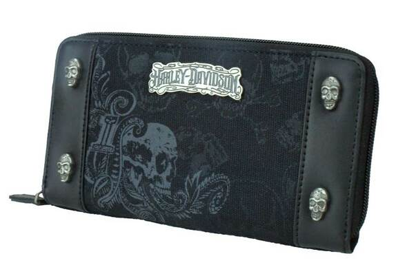 Harley-Davidson Women's Skull Jacquard Zipper Clutch Wallet Black SJ2181J-Black - Wisconsin Harley-Davidson