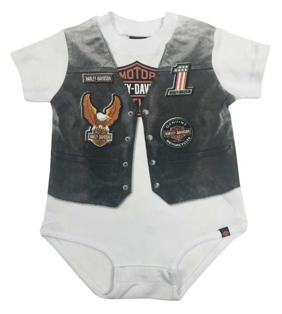 Harley-Davidson Baby Boys' Printed-On Motorcycle Vest Newborn Creeper 3050629 - Wisconsin Harley-Davidson