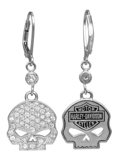 Harley-Davidson Women's Earrings, Bling Willie G Skull Dangles, Silver HDE0224 - Wisconsin Harley-Davidson