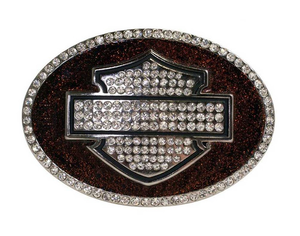 Harley-Davidson Womens Buckle, Orange Glitter Bling Bar & Shield Logo HDWBU10685 - Wisconsin Harley-Davidson