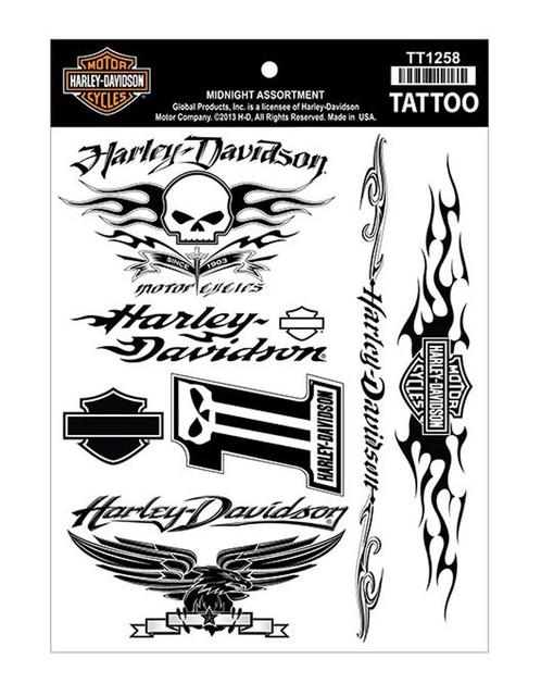 Harley-Davidson Midnight Black Temporary Tattoo Sheet TT1258 - Wisconsin Harley-Davidson